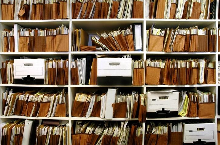 Shelves of files
